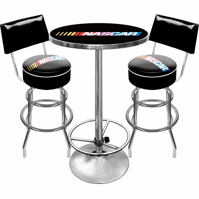 Trademark Global NASCAR Game Room  Piece Pub Table Set Wayfair - Bar stools and table set