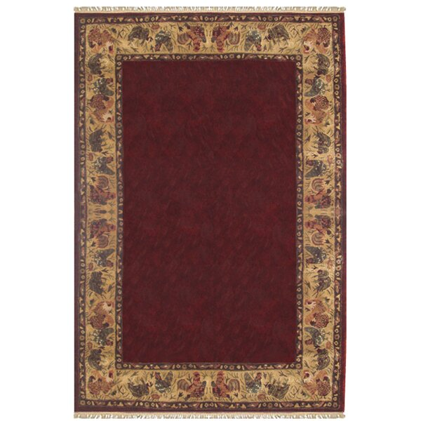 American Home Rug Co. Chicken And Rooster Hand Tufted Burgundy Area Rug |  Wayfair
