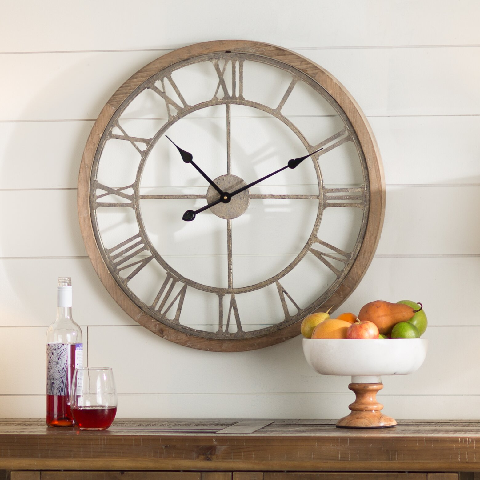 Laurel foundry modern farmhouse natural wood wall clock - Laurel foundry modern farmhouse bedroom ...