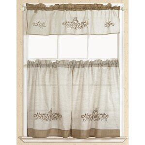 Rustic Scroll Embroidered Kitchen Curtain