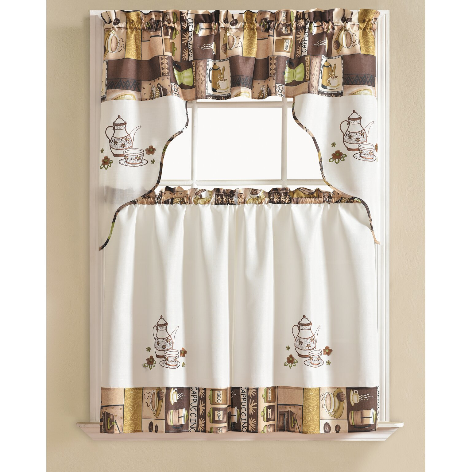 Winston Porter Werner Coffee 3 Piece Kitchen Curtain Set