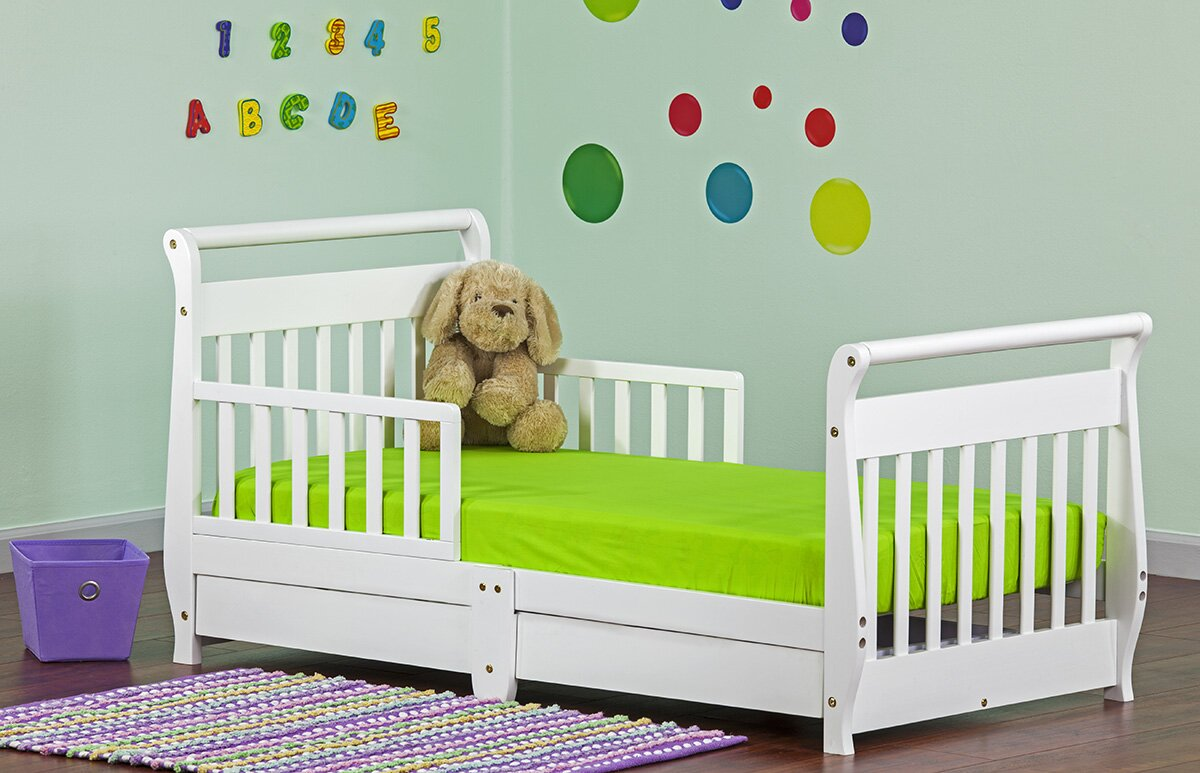 dream on me toddler sleigh bed with storage  reviews  wayfair - defaultname