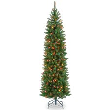 """Kingswood Fir 90"""" Hinged Pencil Tree with 350 Multi-Color Lights"""