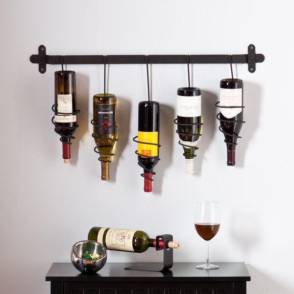 wildon home carsten 5 bottle wall mounted wine rack u0026 reviews wayfair