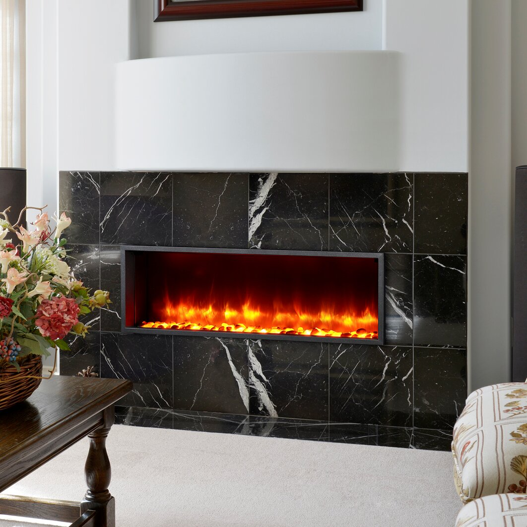 44 quot  built in led wall mount electric fireplace insert