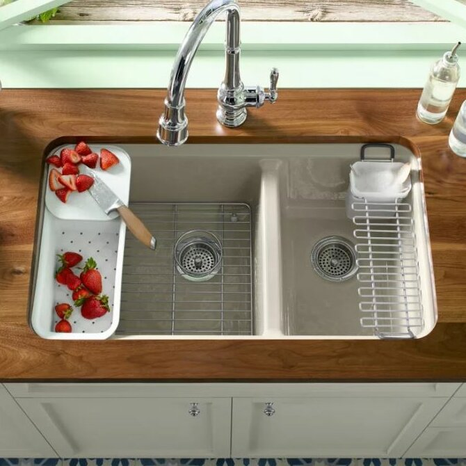 kohler undermount sinks kitchen kohler riverby 33 quot x 22 quot basin undermount kitchen 6706