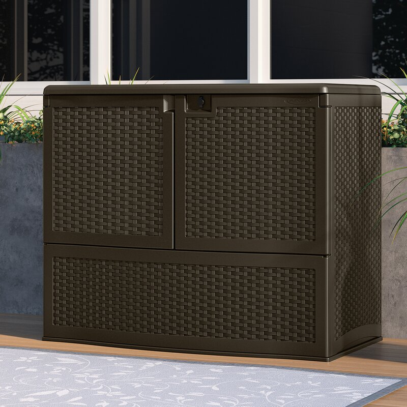 Double Door Vertical Storage Resin Deck Box