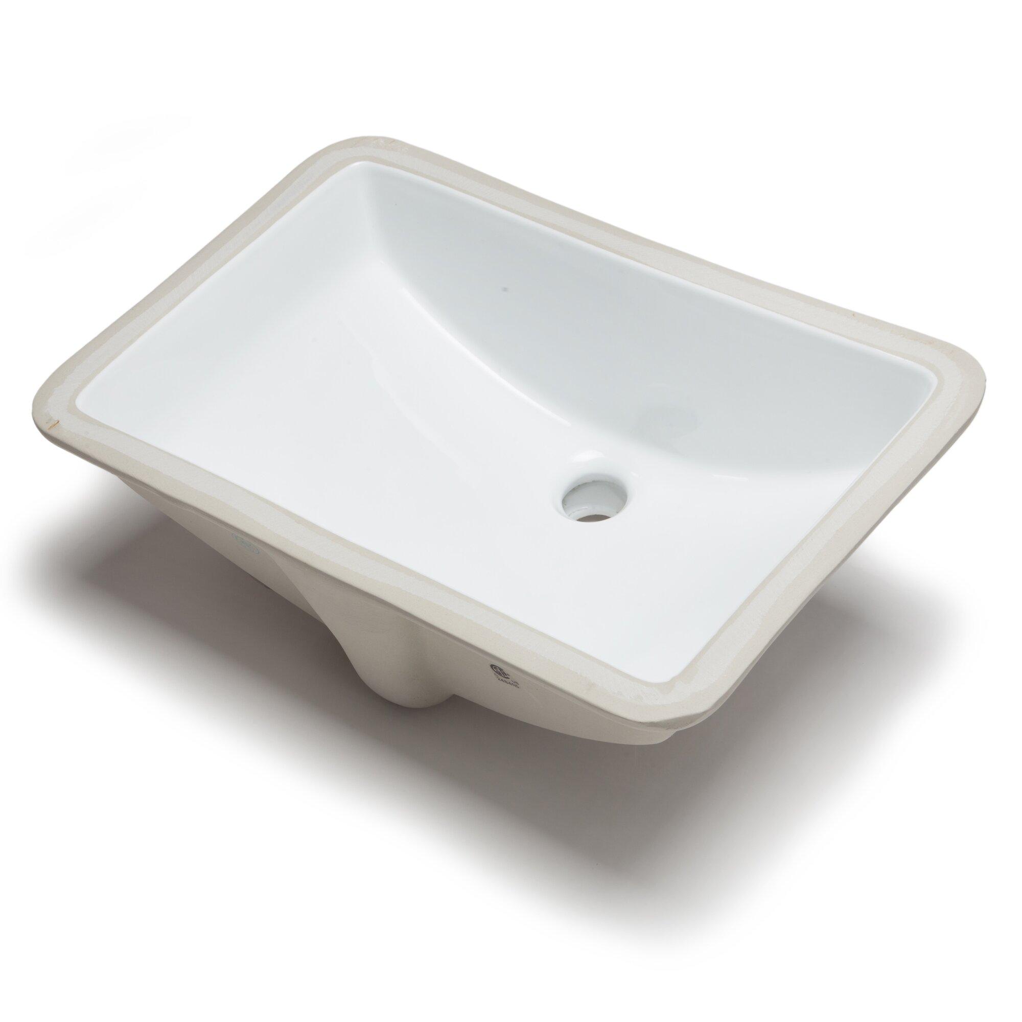 Hahn ceramic bowl rectangular undermount bathroom sink - Rectangle undermount bathroom sink ...