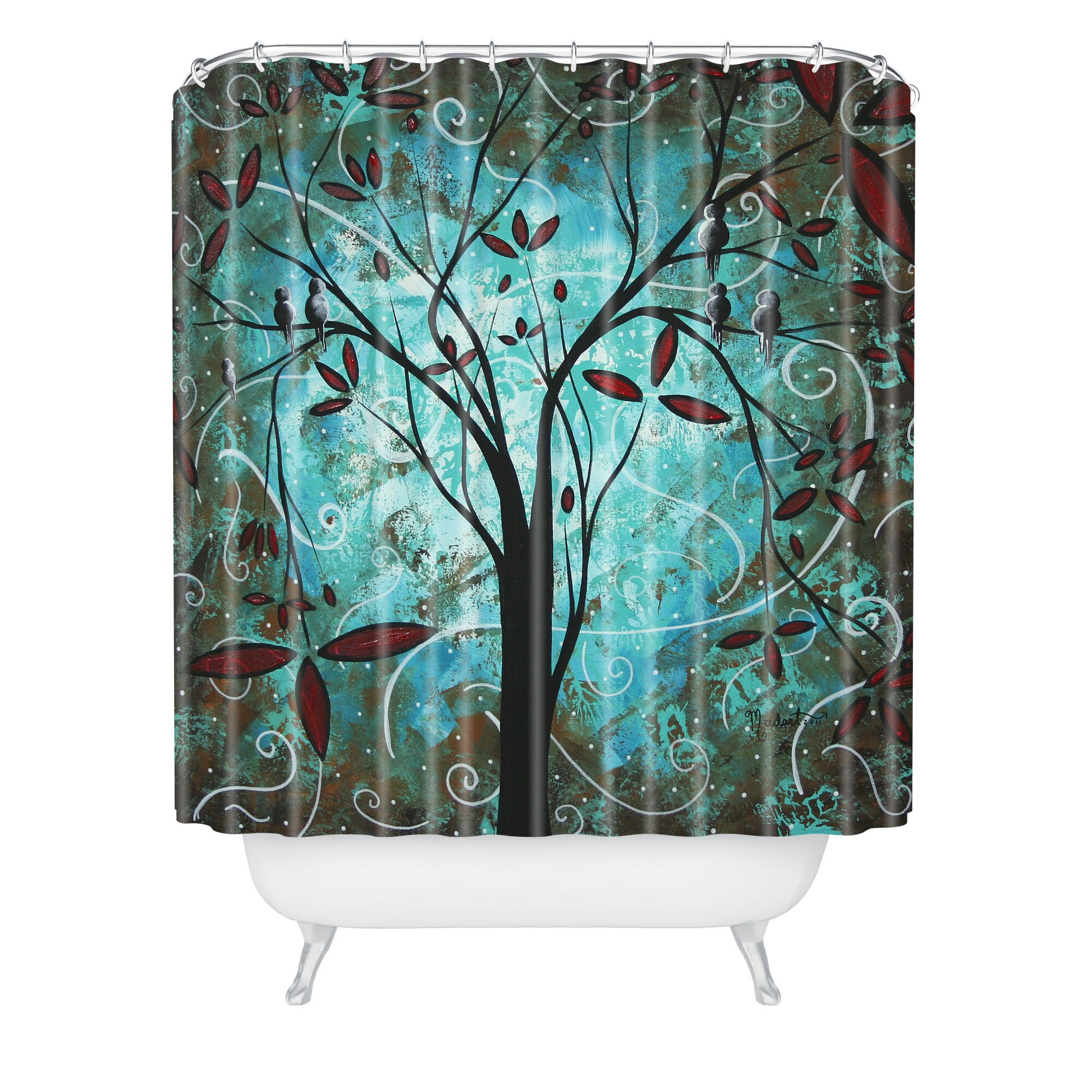 Deny Designs Madart Inc Romantic Evening Shower Curtain  Reviews - Brown and turquoise shower curtain