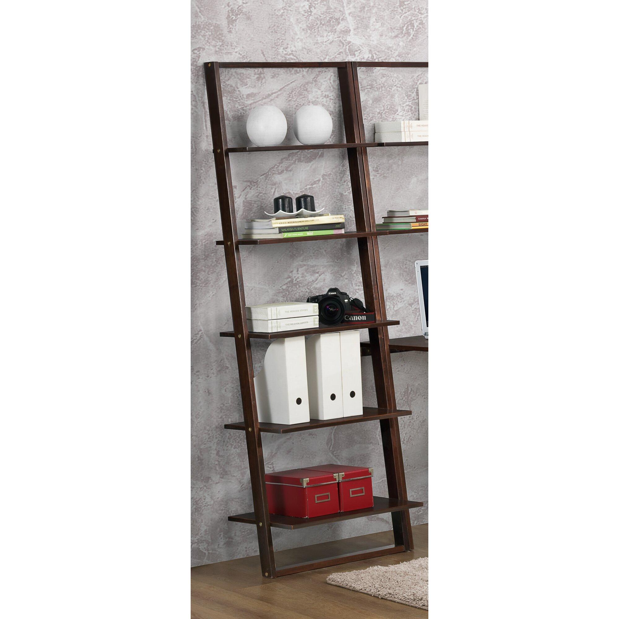 4d concepts arlington wall 72 leaning bookcase reviews wayfair. Black Bedroom Furniture Sets. Home Design Ideas