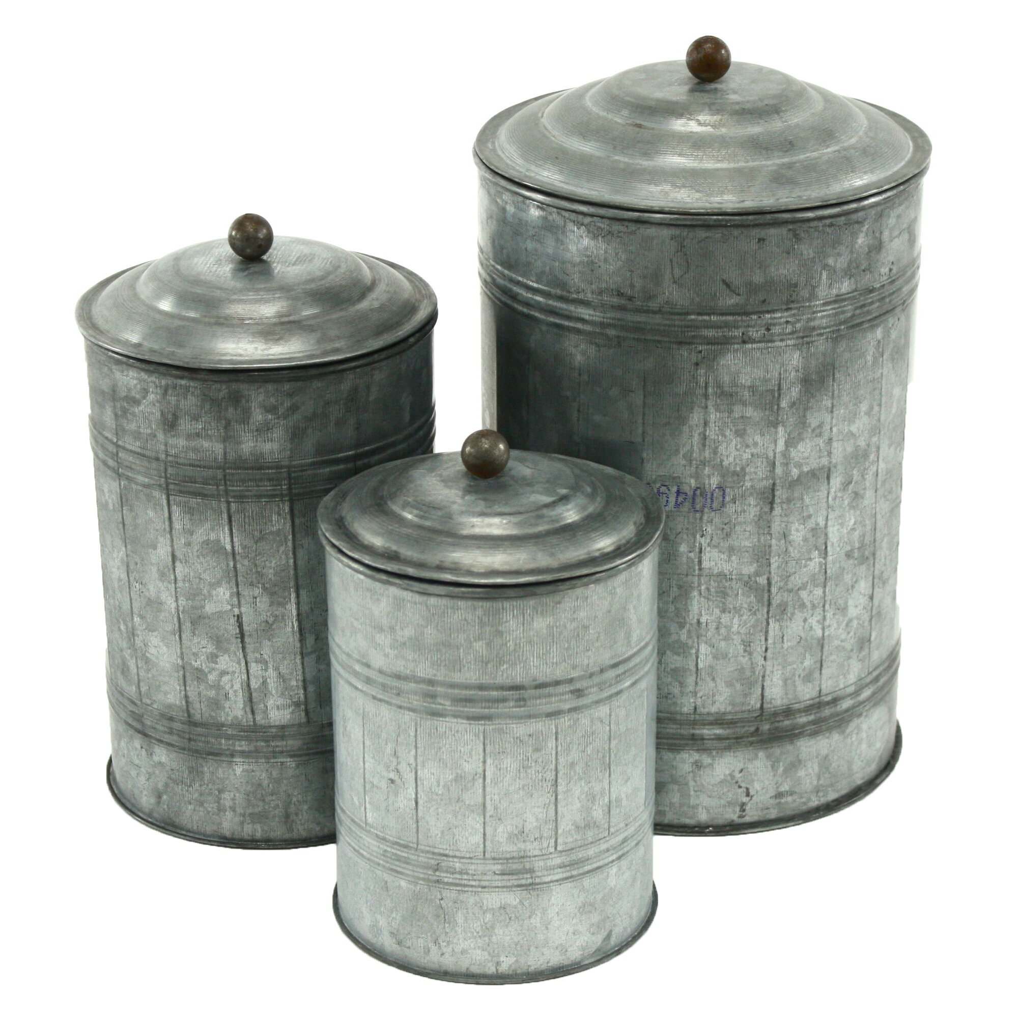 Black Kitchen Canister Set Aspire Galvanized Metal 3 Piece Decorative Jar Set