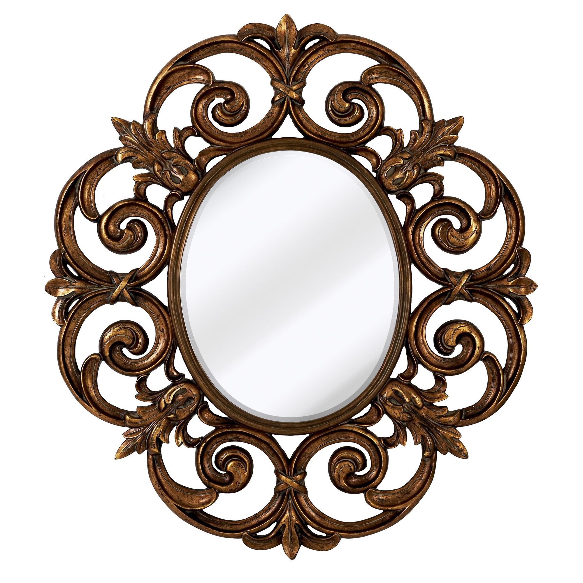 large traditional round decorative oval shaped beveled glass wall mirror - Round Decorative Mirror