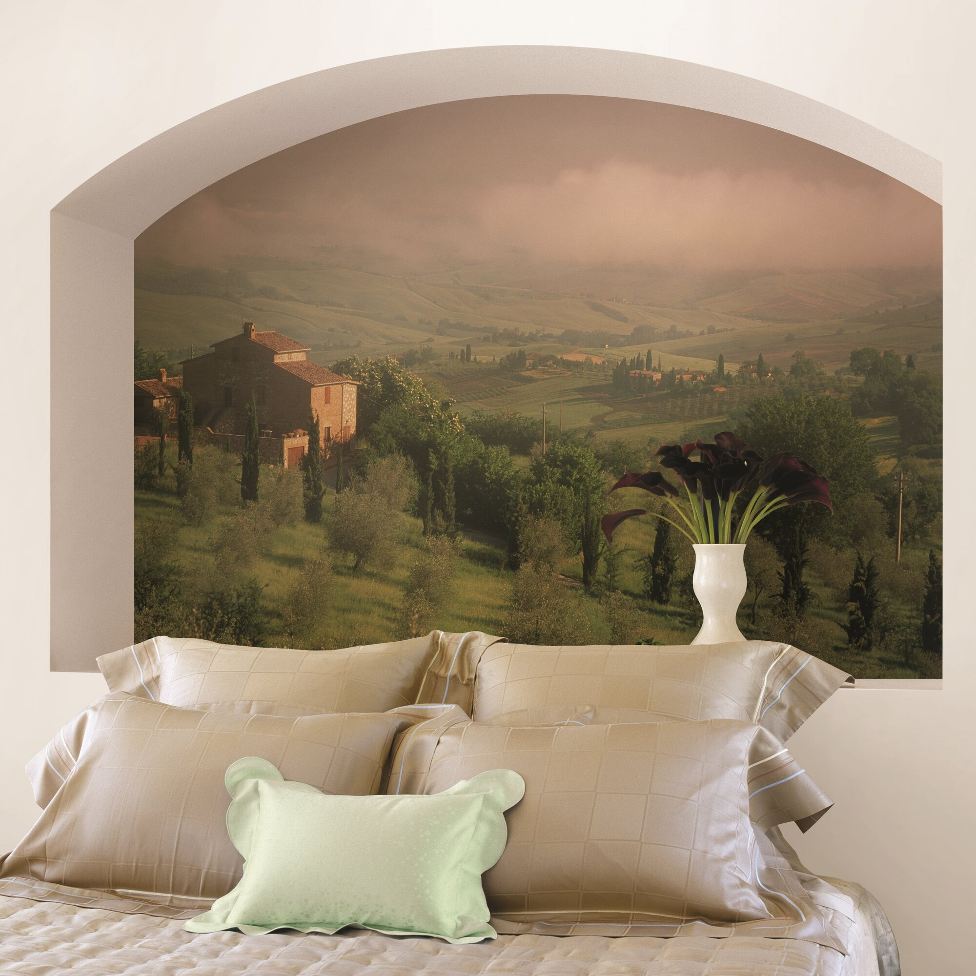 Brewster home fashions national geographic tuscan farm for Barnyard wall mural