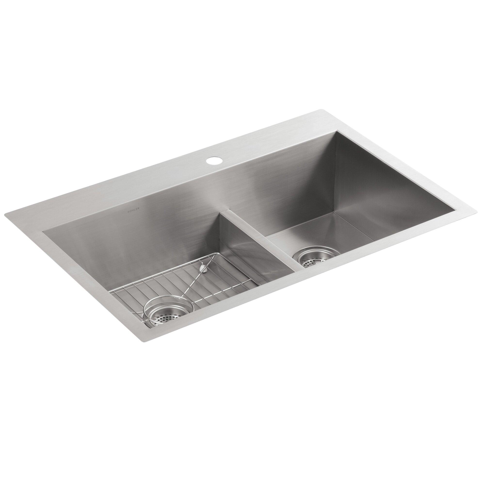 "Top Mount Sink Kitchen: Kohler Vault 33"" X 22"" X 9-5/16"" Smart Divide Top-Mount"