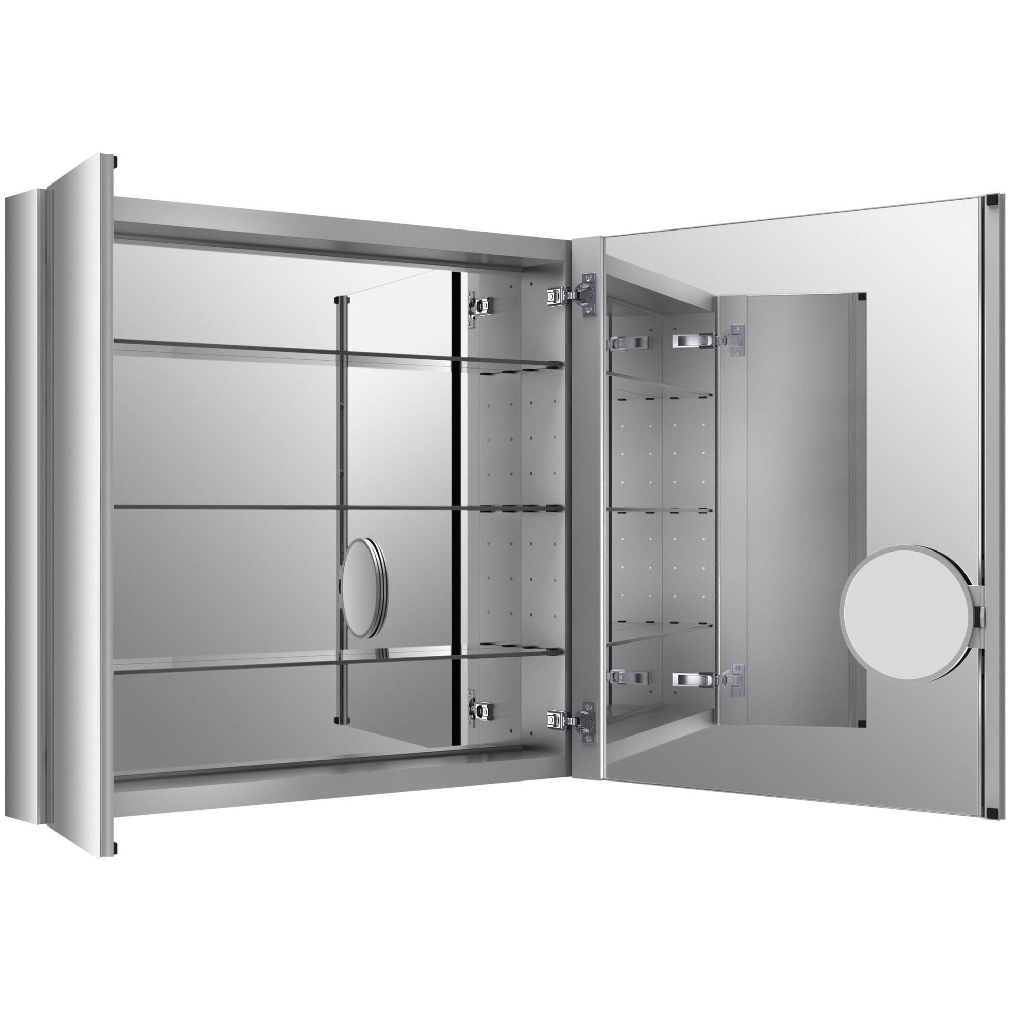 kohler verdera 34 w x 30 h aluminum medicine cabinet with adjustable magnifying mirror and. Black Bedroom Furniture Sets. Home Design Ideas