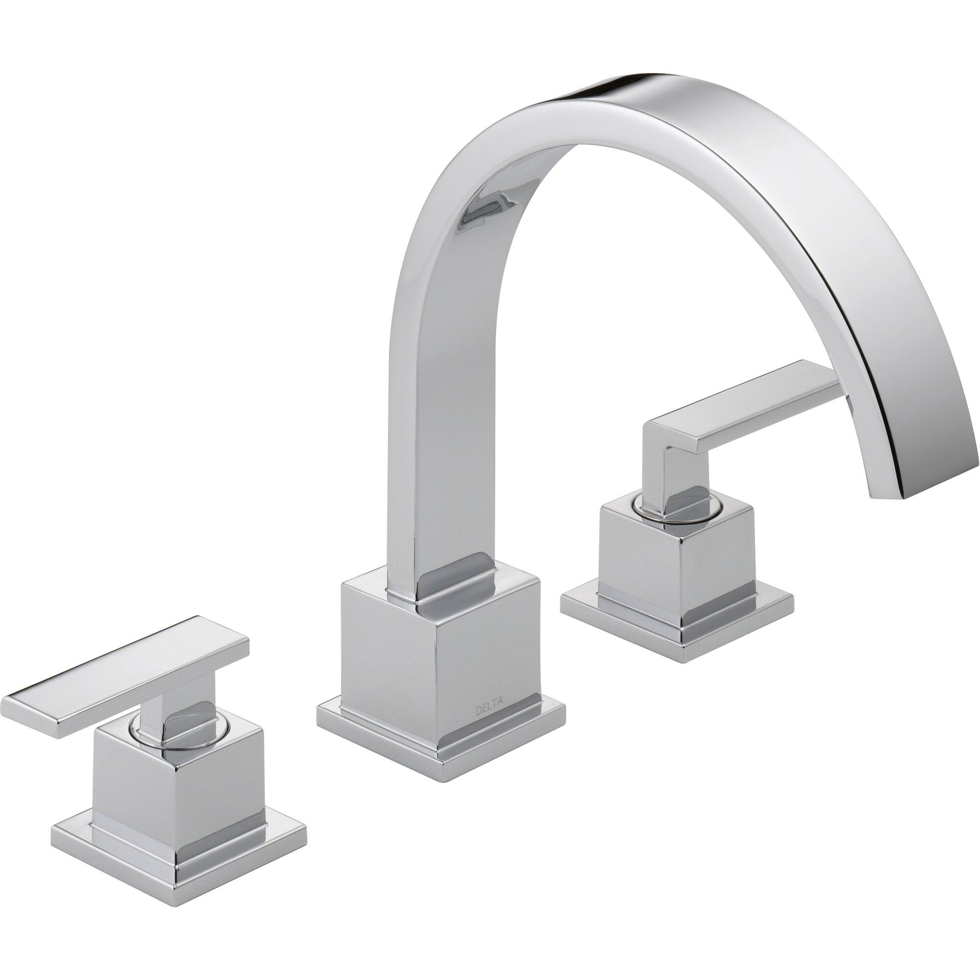 Delta Vero Double Handle Deck Mount Roman Tub Faucet Trim - Wall mount roman tub filler