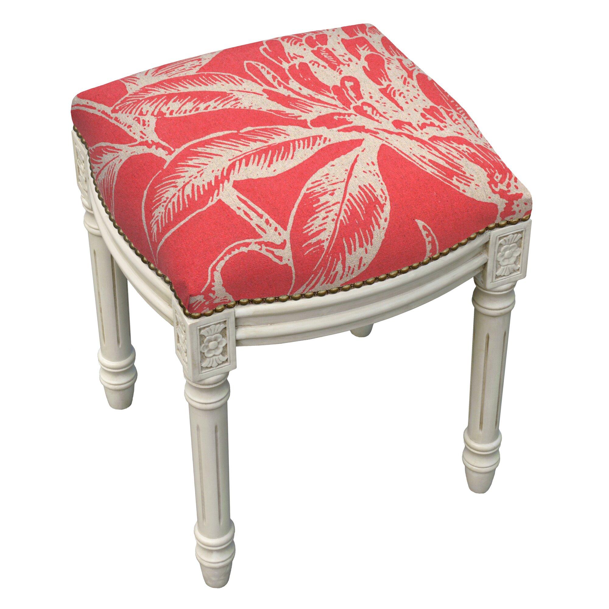 123 Creations Floral Coral Botanical Linen Upholstered