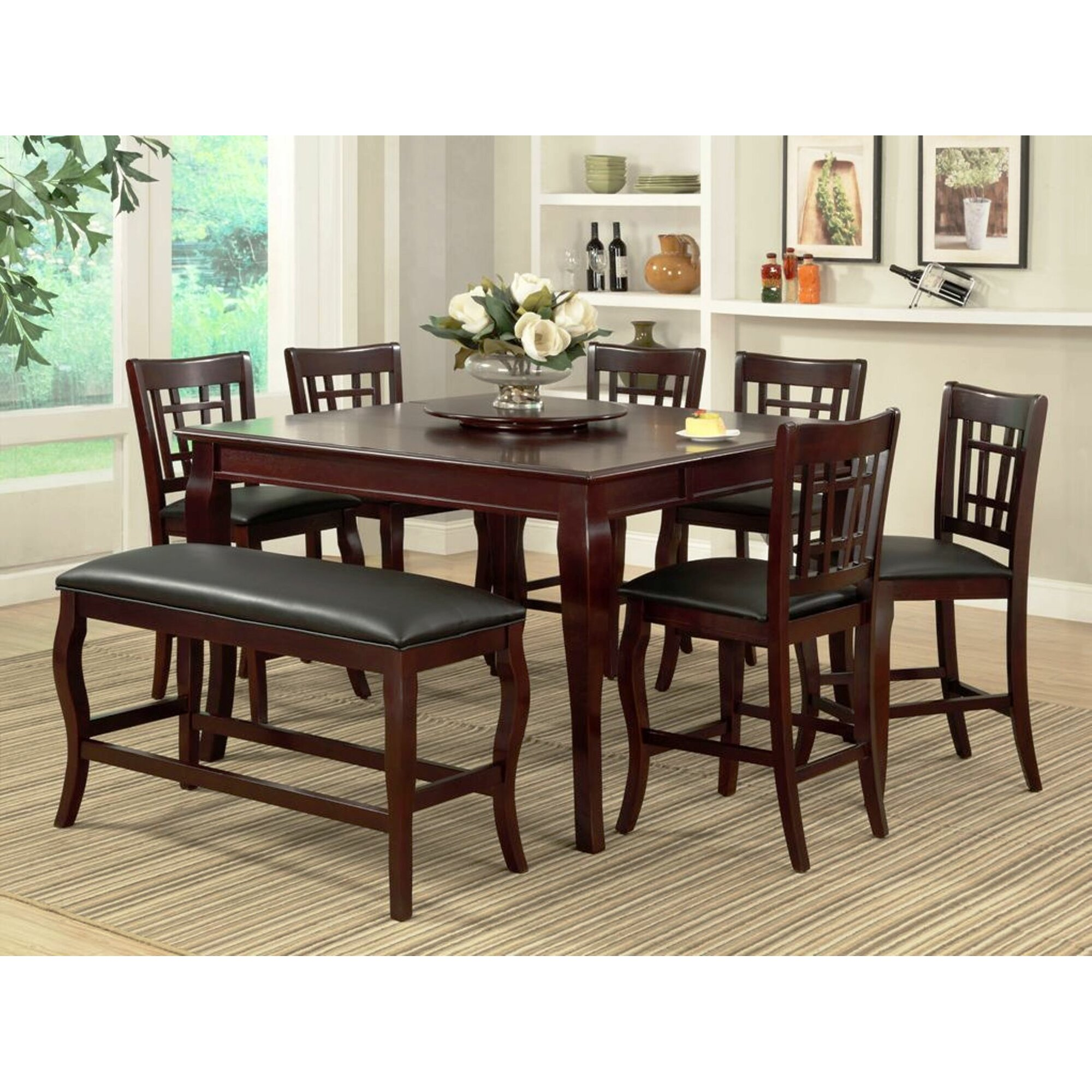 Kitchen pub table and chairs - Burgos 7 Piece Pub Table Set