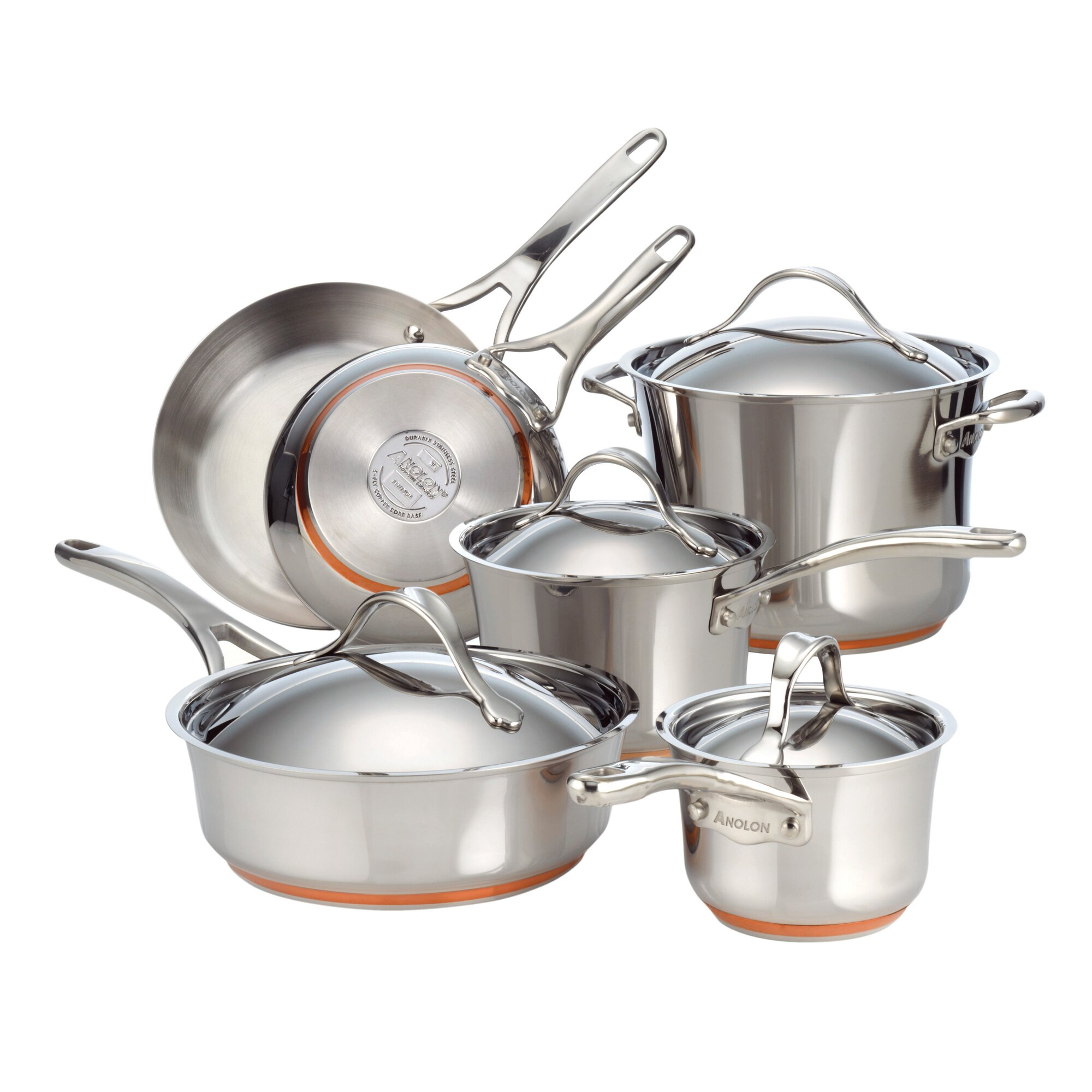 Anolon Nouvelle Copper Stainless Steel 10 Piece Cookware Set ...