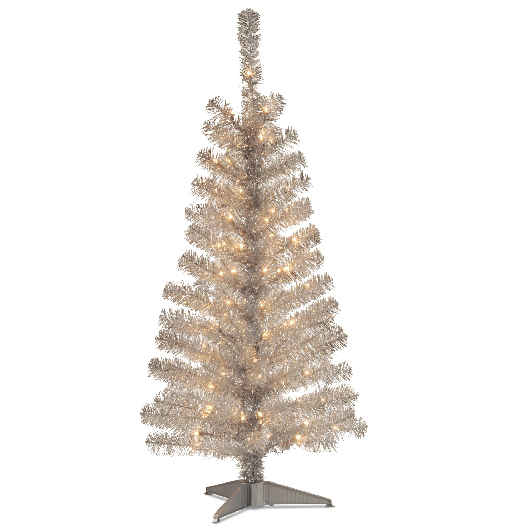 Home Depot Real Christmas Tree Prices: National Tree Co. Tinsel Trees 4' Silver Artificial