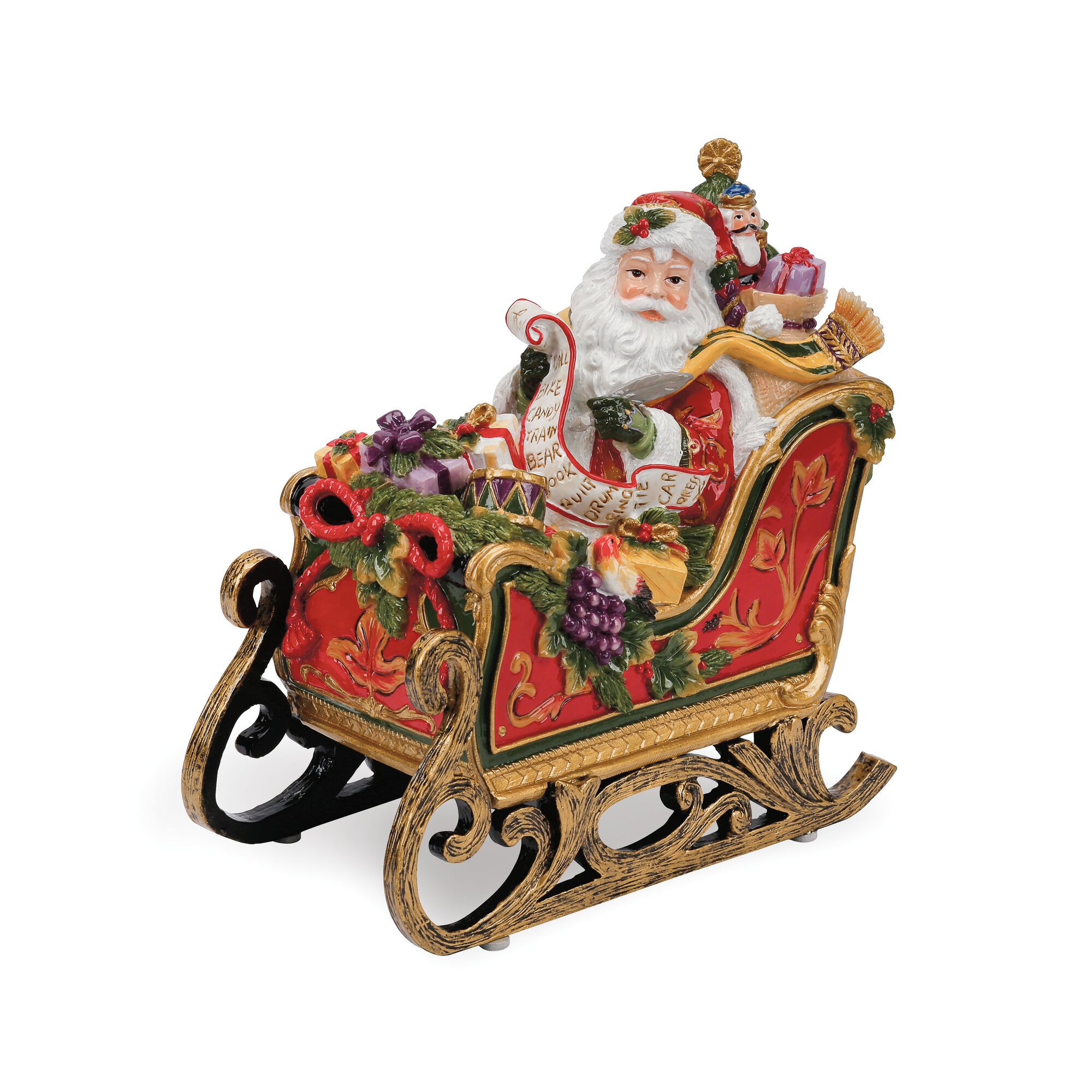 Santa sleigh ornament - Regal Holiday Santa In Sleigh Musical Figurine
