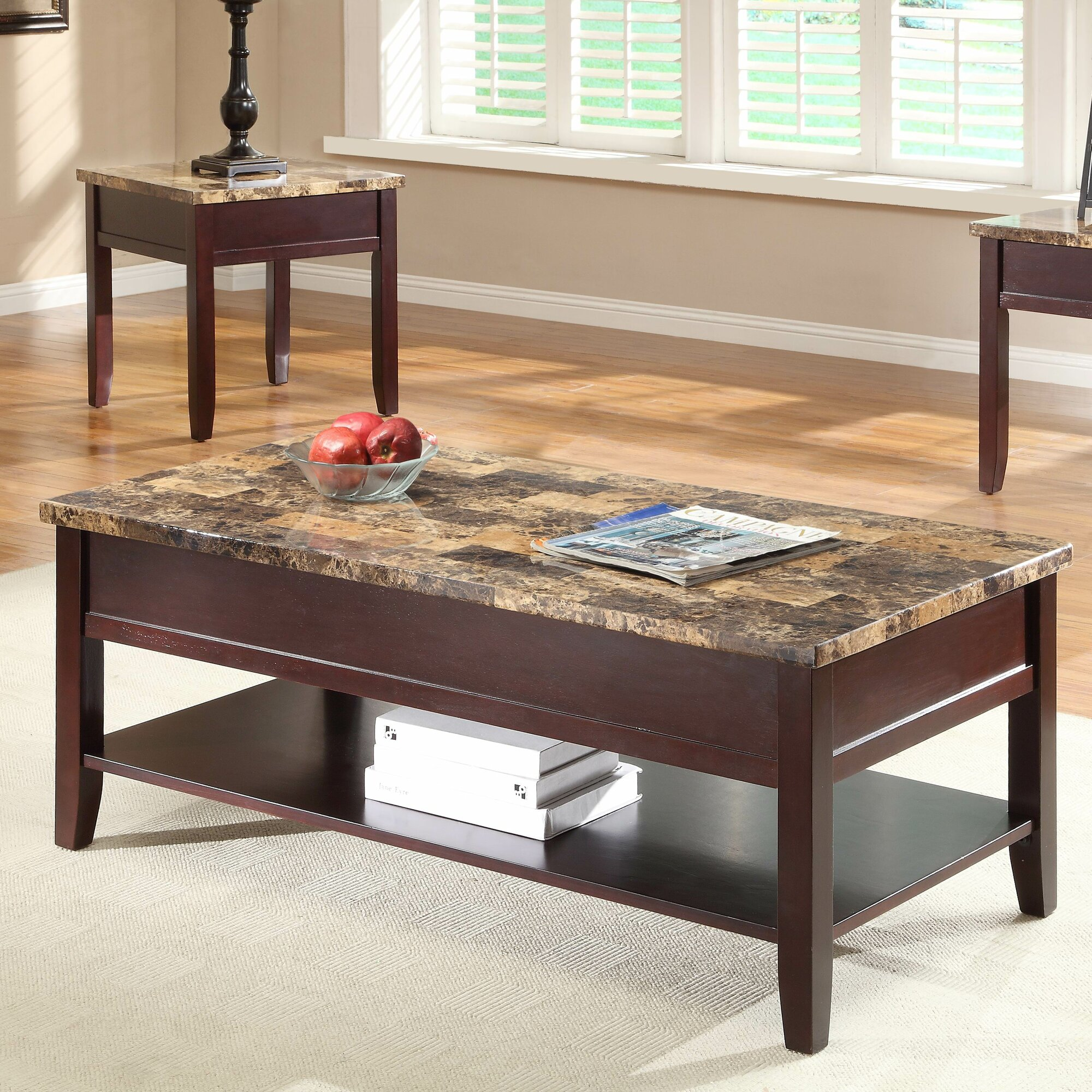 Bassett Coffee Table Lift Top Midcentury Modern Square Walnut