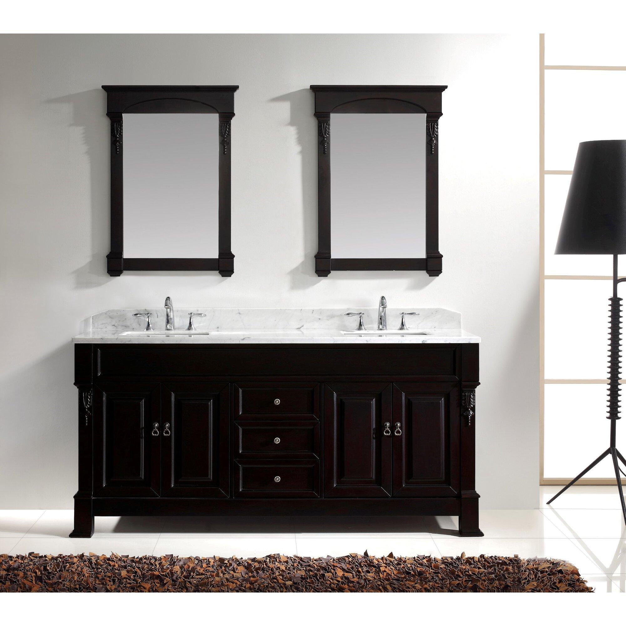 Virtu bathroom accessories - Huntshire 71 25 Double Bathroom Vanity Set With White Marble Top And Mirror