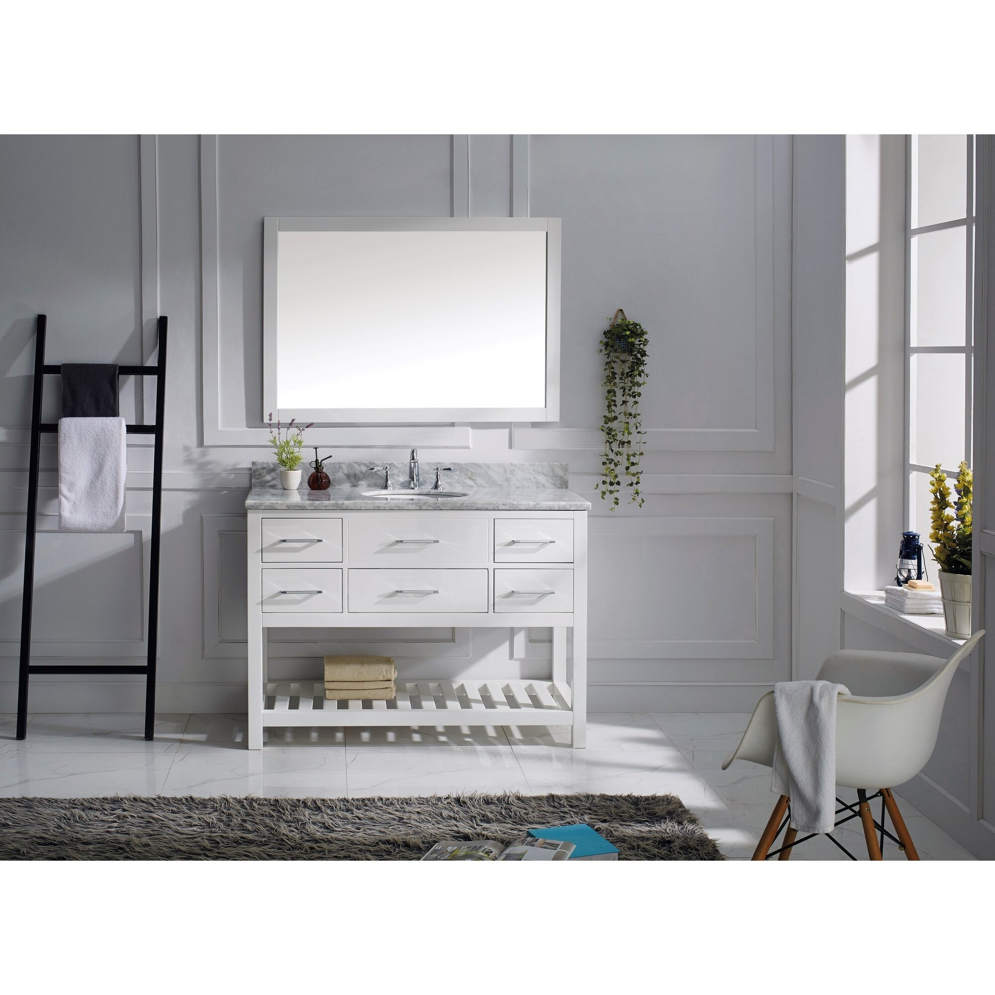 Caroline Estate Single Bathroom Vanity Set Espresso Marble Top