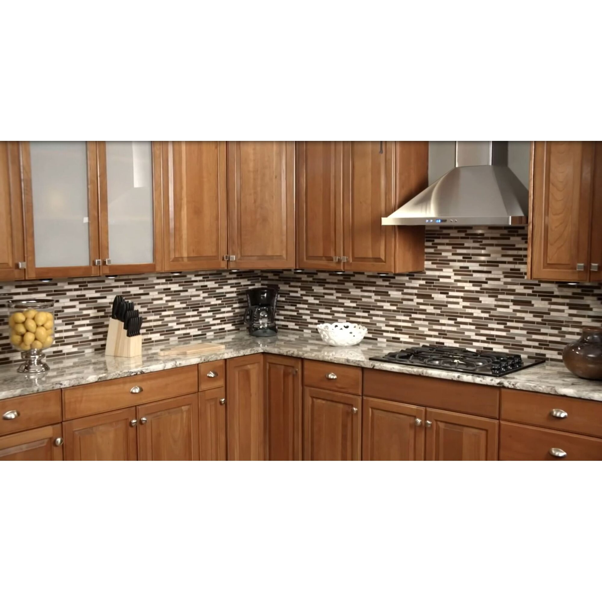 Stick on tiles for kitchen - 12 X 12 Glass Natural Stone Metal Peel Stick