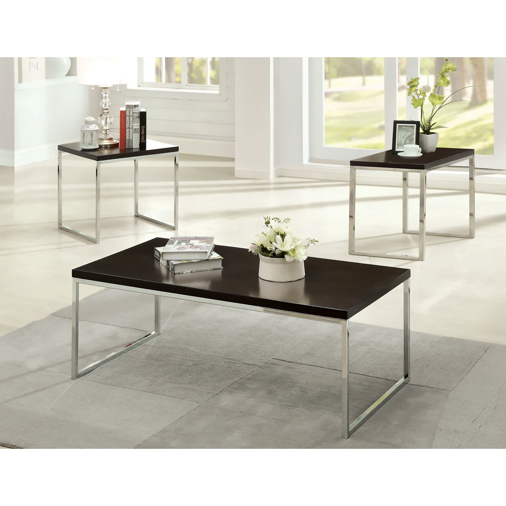 Hokku Coffee Table Sets: Hokku Designs Howie Retro 3 Piece Coffee Table Set