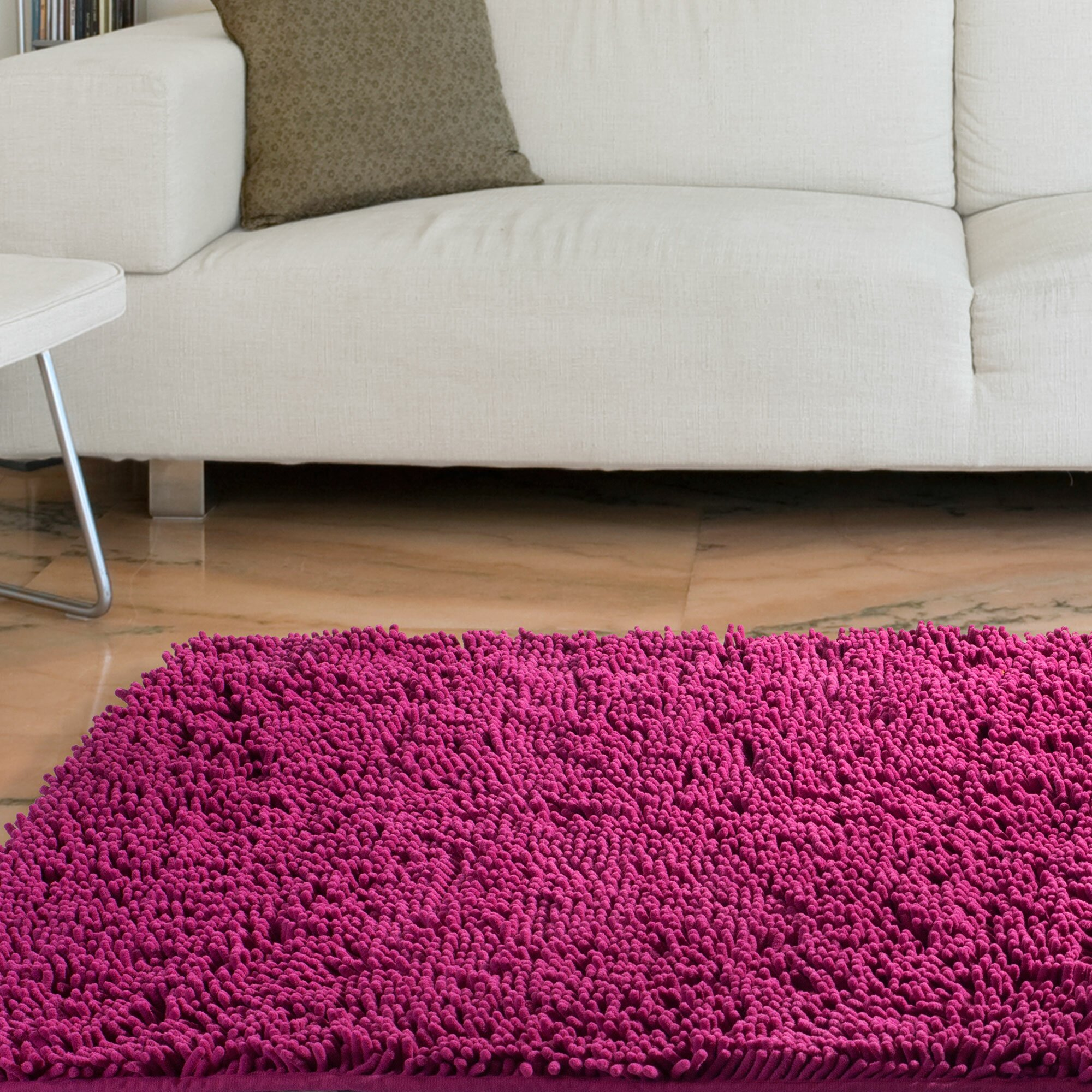 Lavish Home High Pile Pink Solid Area Rug & Reviews