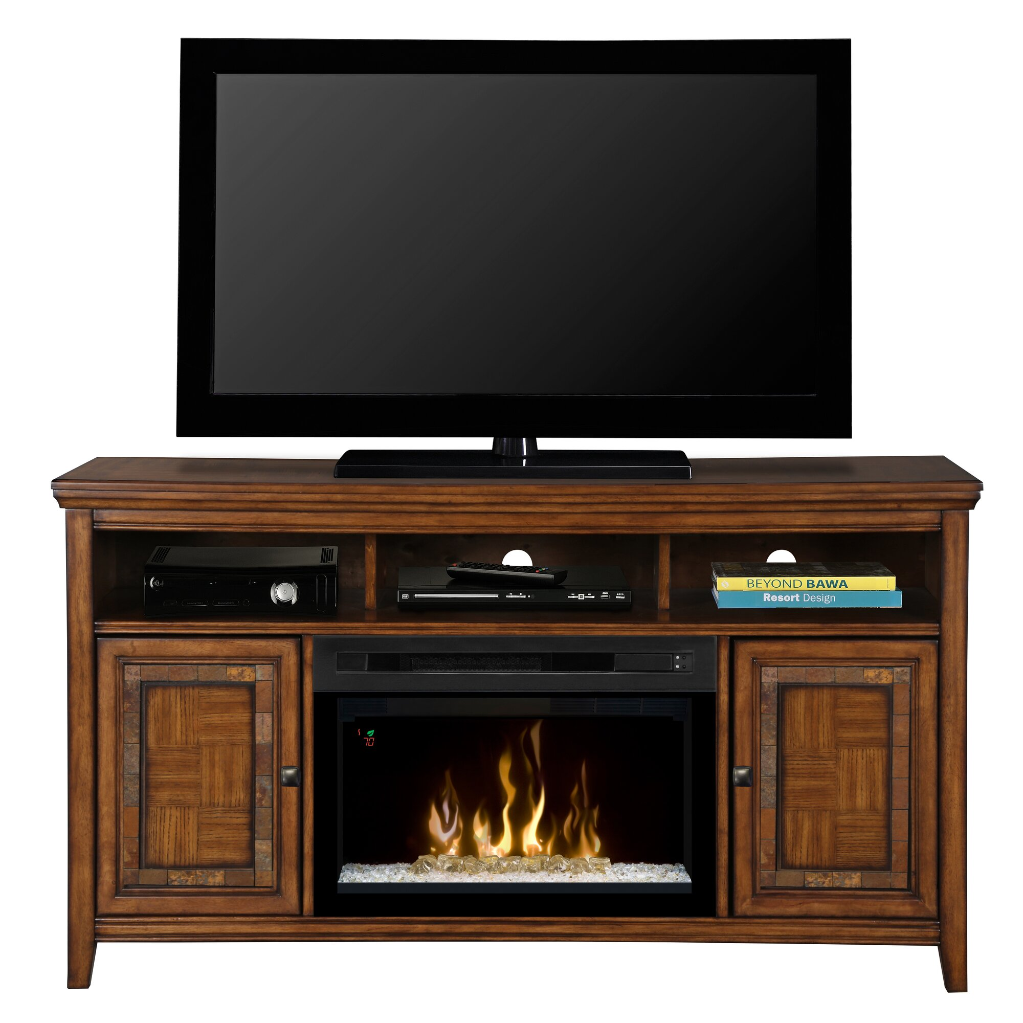 "Dimplex Lynbrook 60"" TV Stand with Electric Fireplace"