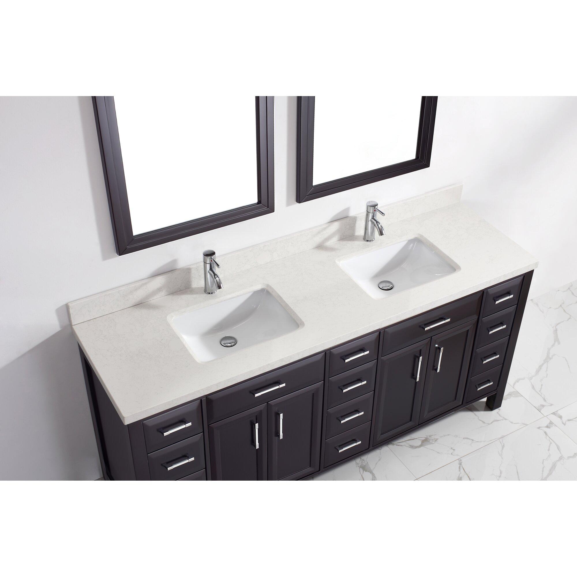 Double bathroom vanity - Caledonia 75 Double Bathroom Vanity Set