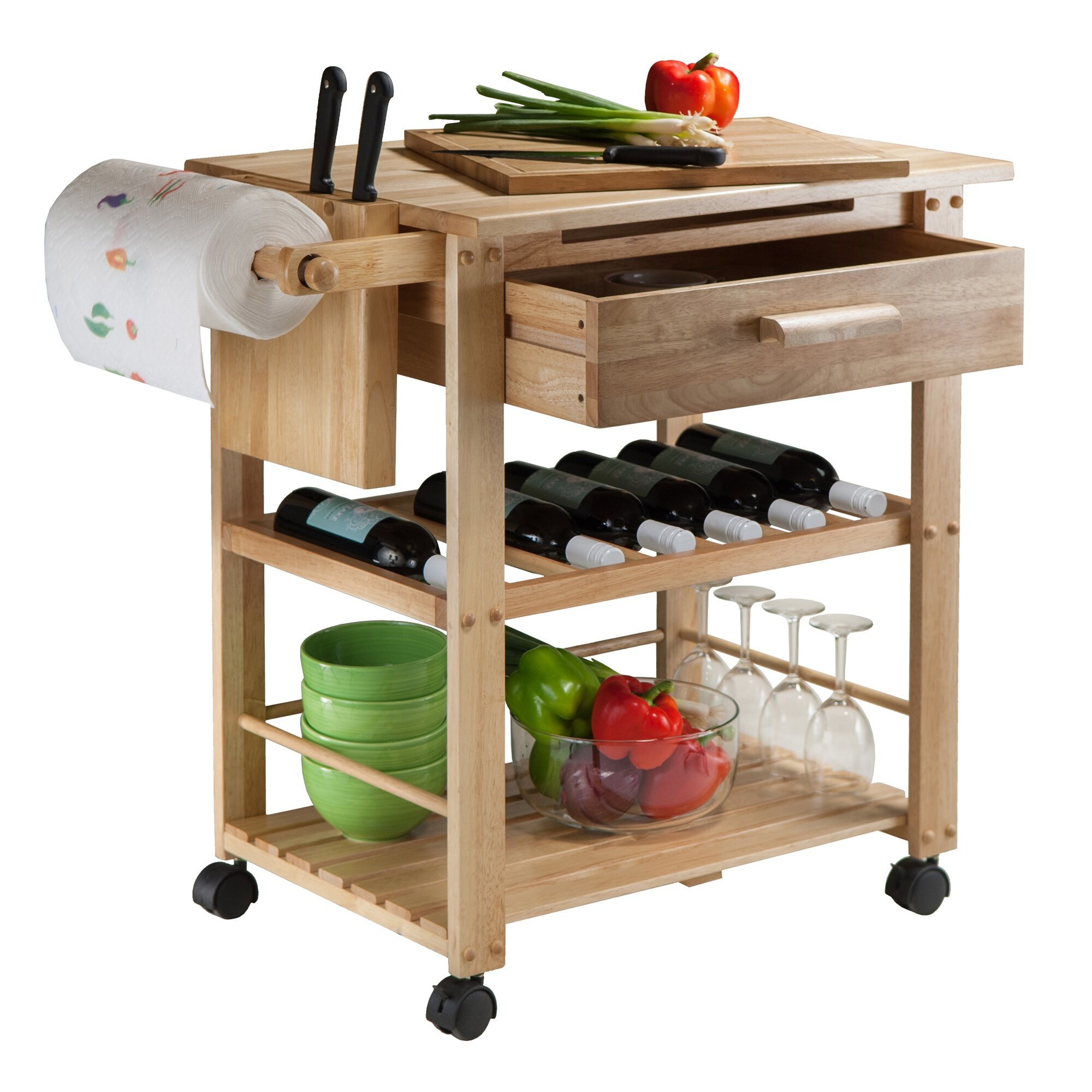 Wooden Kitchen Carts ~ Winsome finland kitchen cart with wooden top reviews