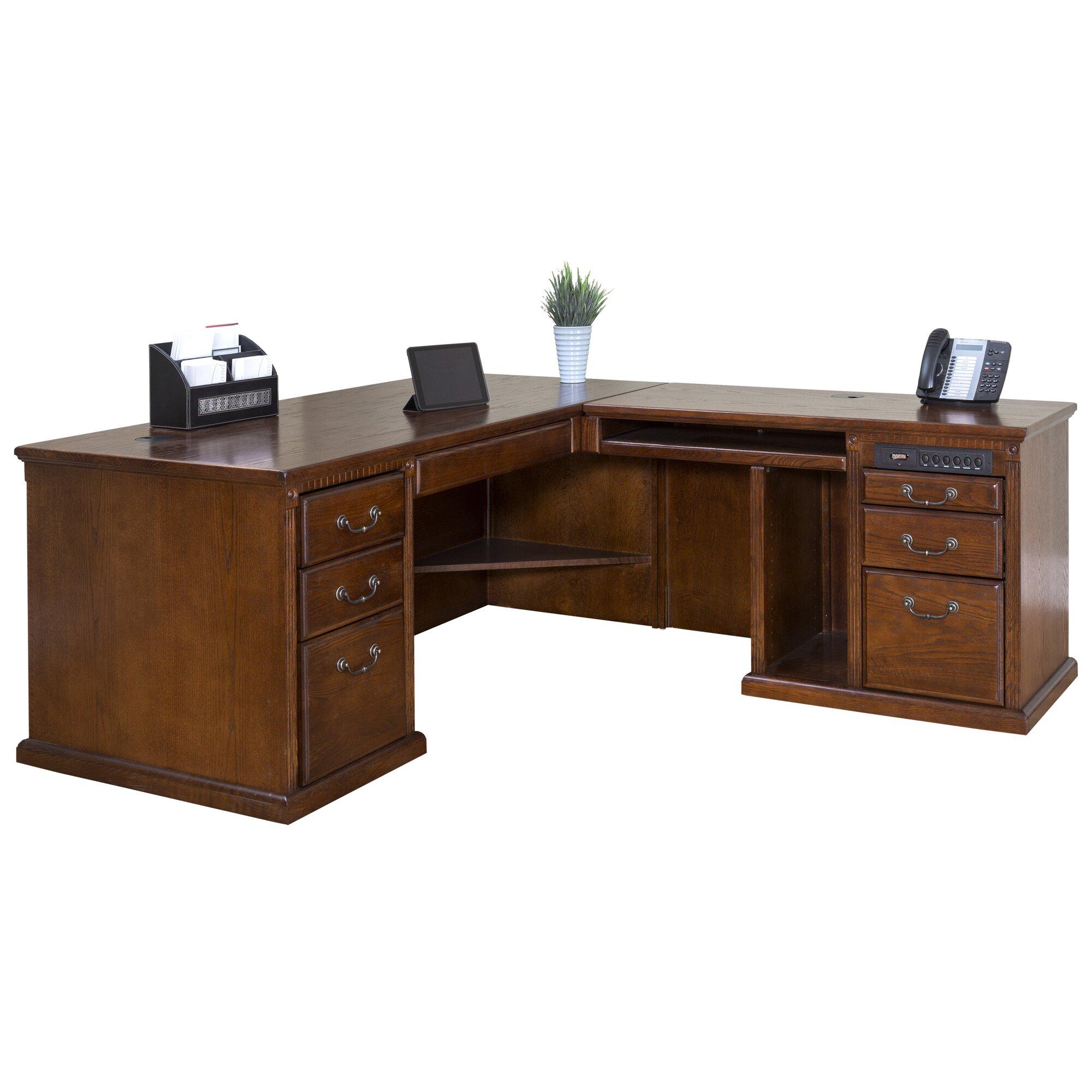 Martin Home Furnishings Huntington Oxford L Shape Executive Desk With Hutch Reviews Wayfair