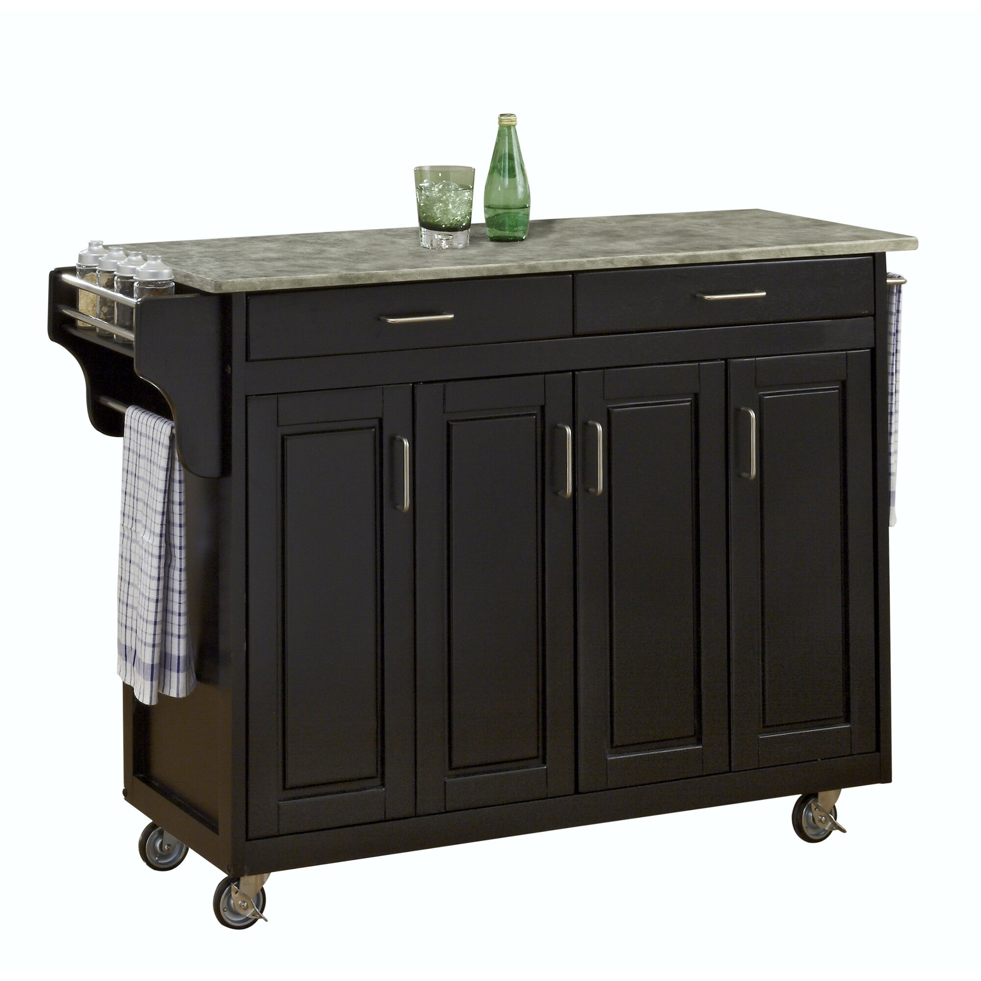 Home Styles Create-a-Cart Kitchen Island with Concrete Top