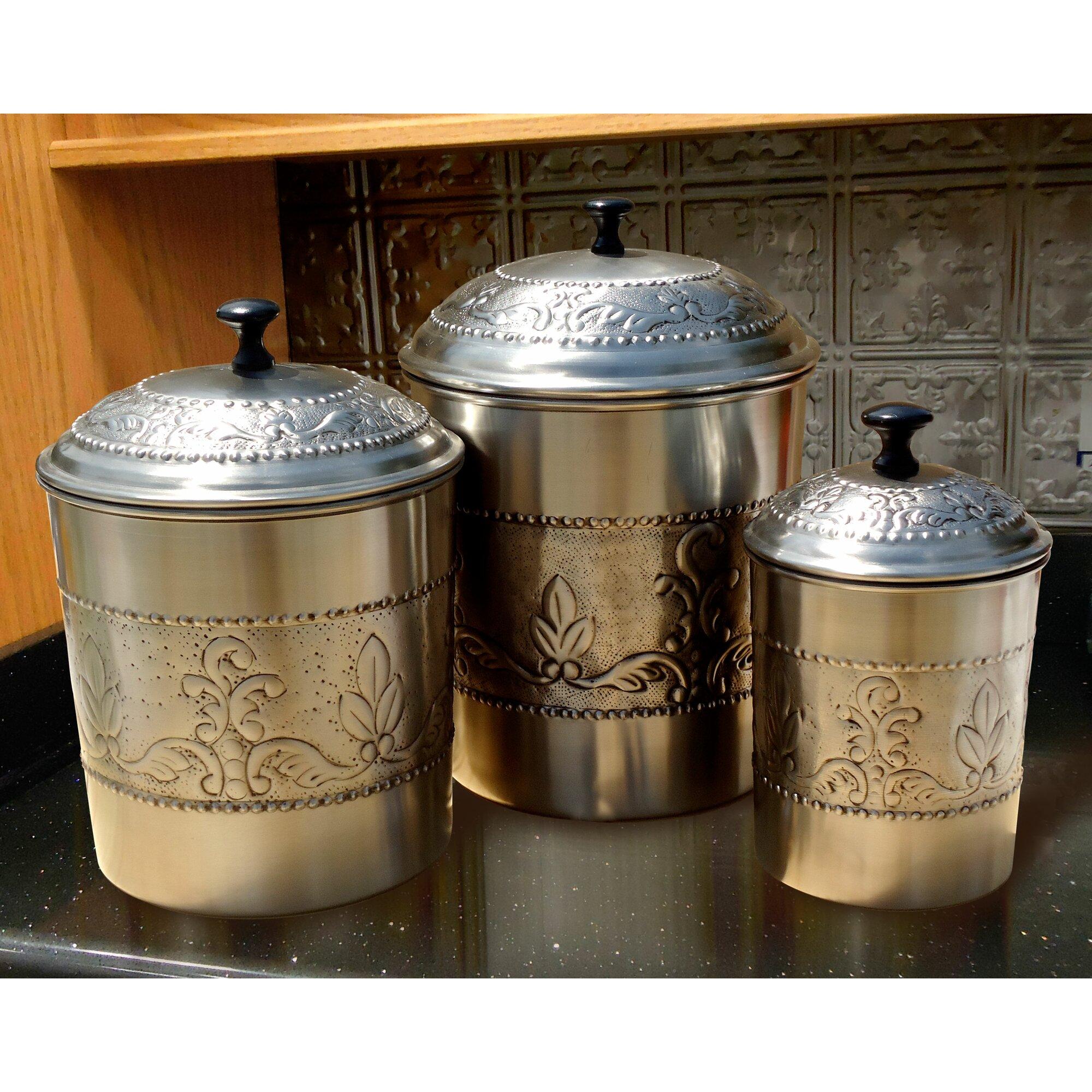 canister set etsy rustic kitchen canister set detrit us old dutch victoria 3 piece kitchen canister set reviews wayfair