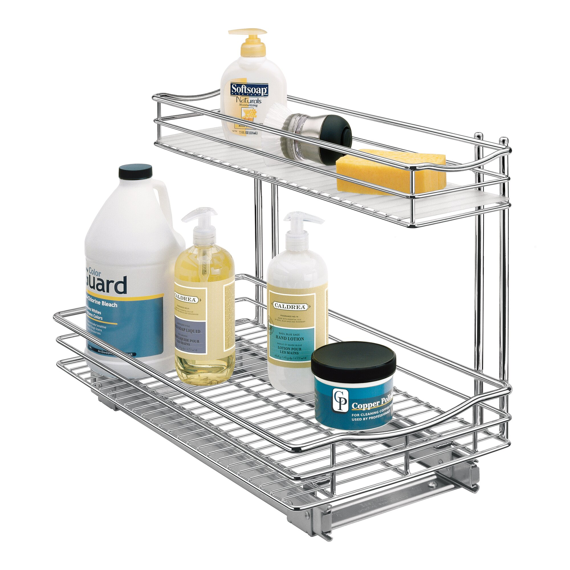 Roll Out Under Sink Cabinet Organizer - Pull Out Two Tier Sliding ...