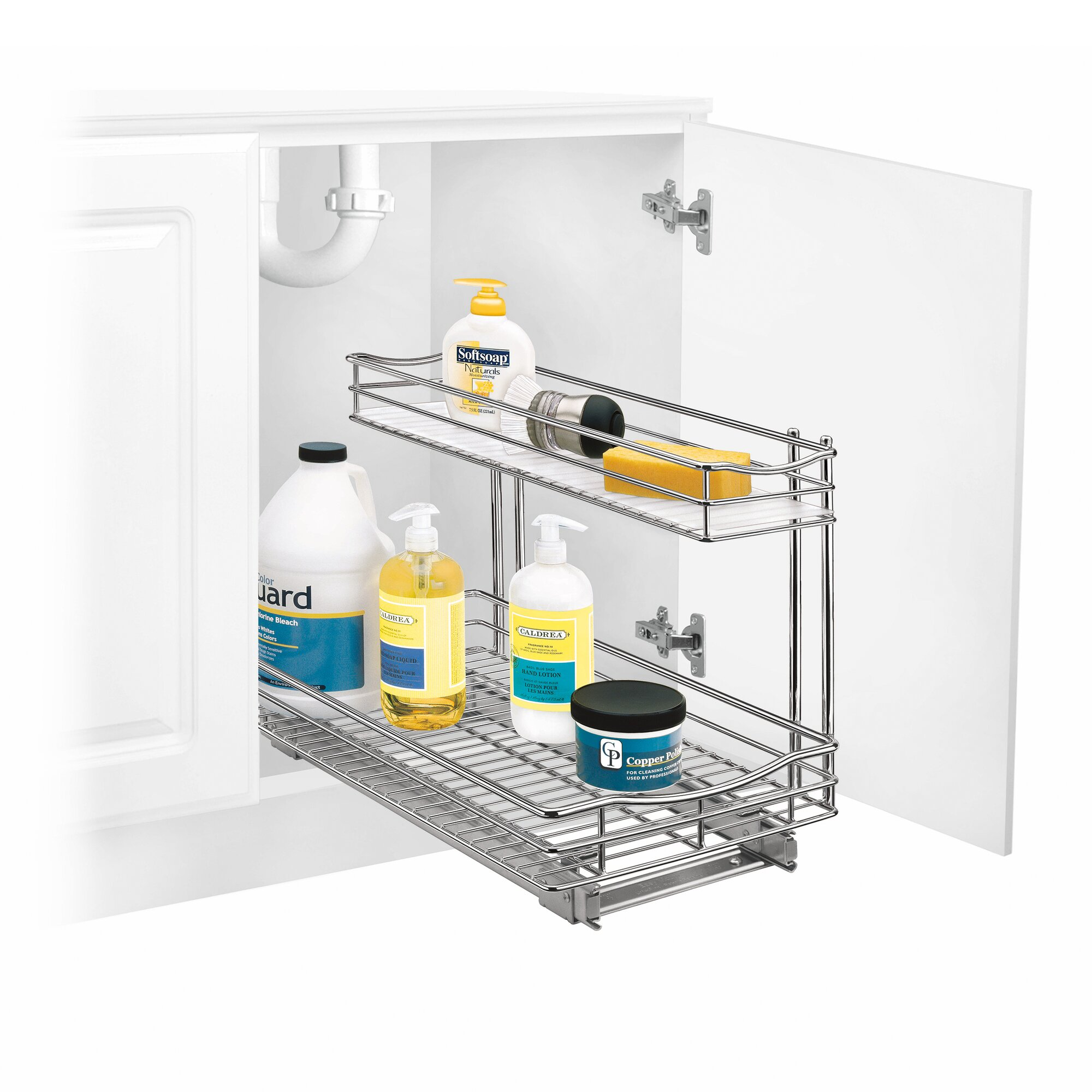 lynk roll out under sink cabinet organizer pull out two tier sliding shelf 11 5 in wide x. Black Bedroom Furniture Sets. Home Design Ideas