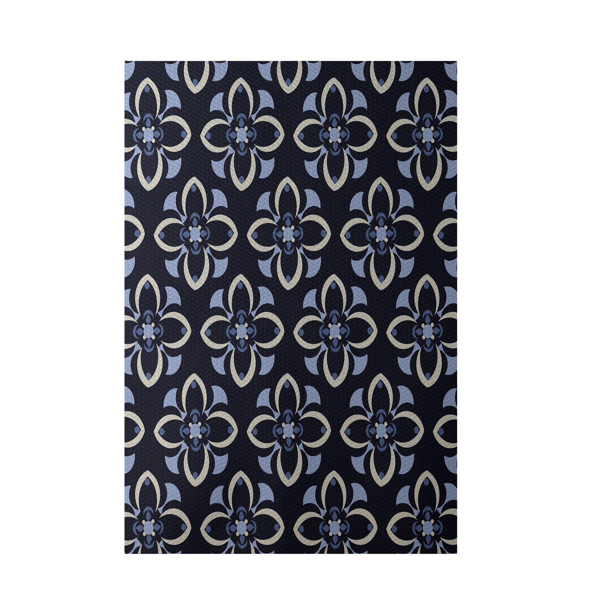 e by design Floral Navy Blue Indoor Outdoor Area Rug