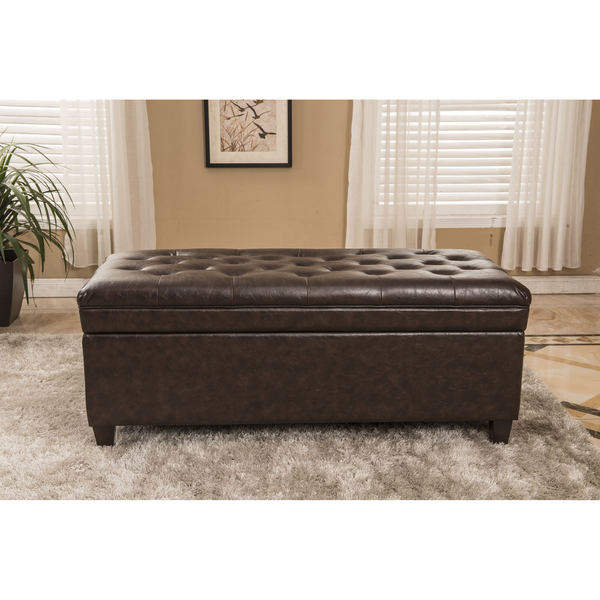 Classic Waxed Texture Dark Tufted Wood Storage Bedroom Bench ...