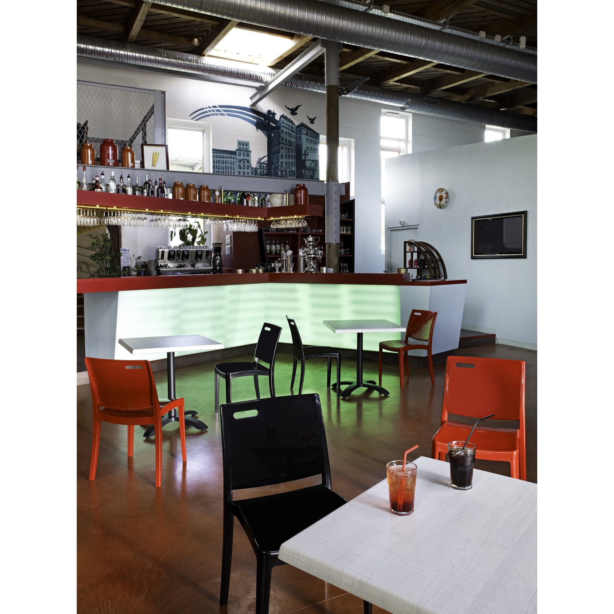 Grosfillex Commercial Resin Furniture Metro Stacking Dining Side   Commercial  Dining Room Furniture