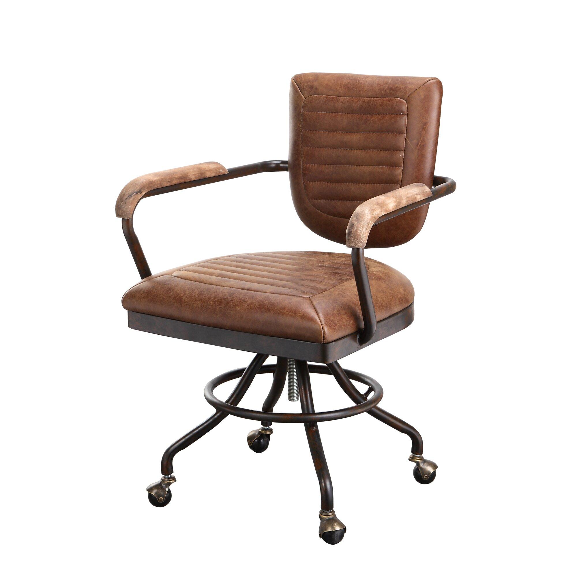 Tan leather office chair - Dubois Leather Desk Chair
