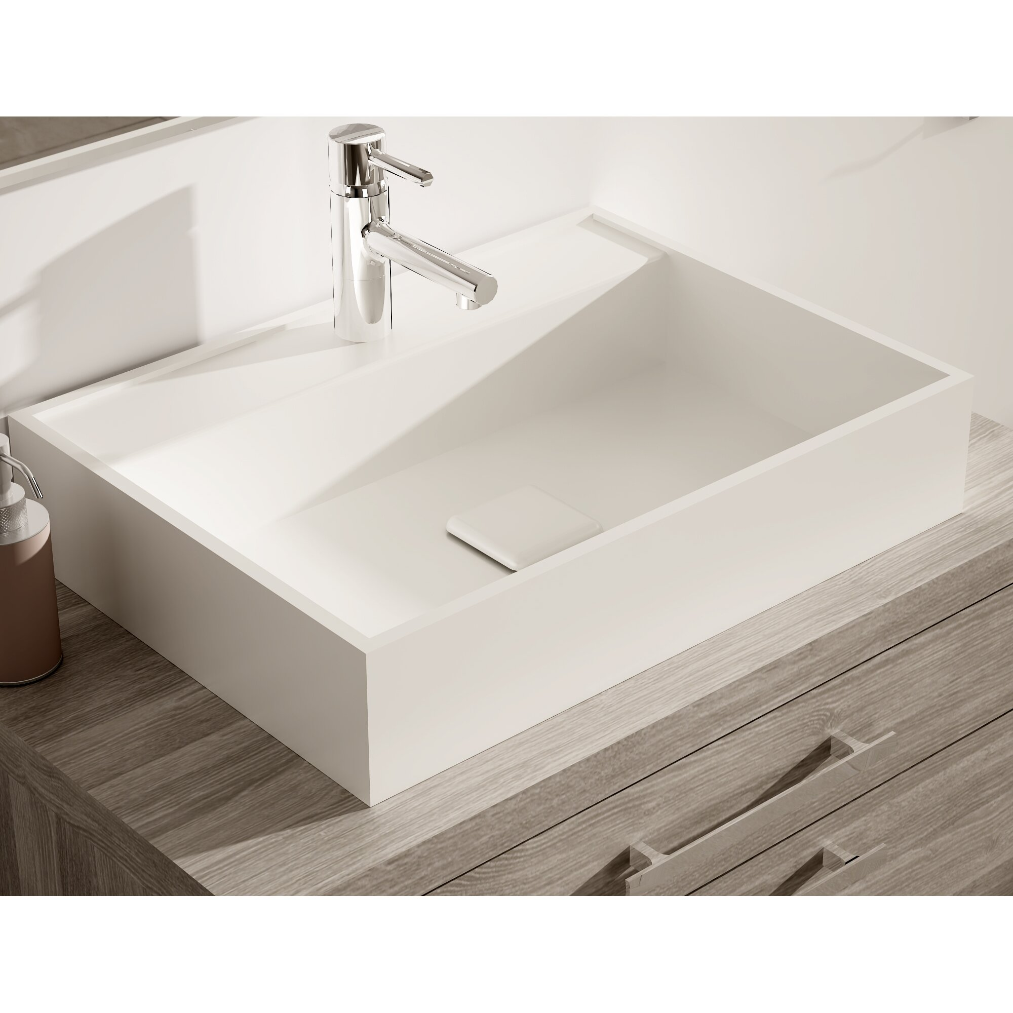 Solid Surface Stone Resin Wall Hung Sink Contemporary Bathroom Sinks