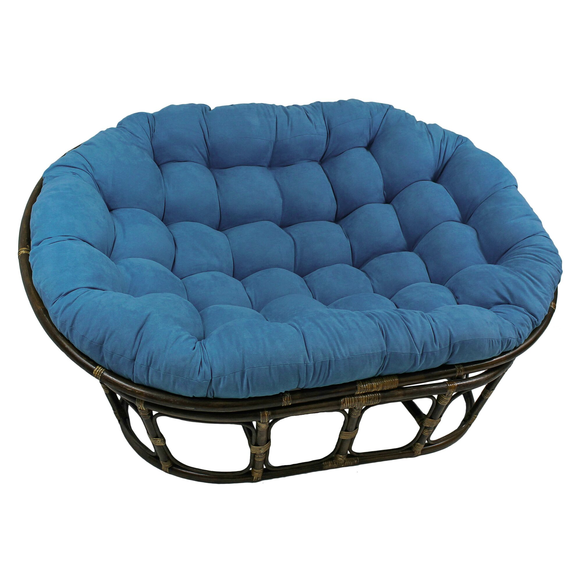 Cane chairs with cushions - Quick View Rattan Double Papasan Chair With Micro Suede Cushion