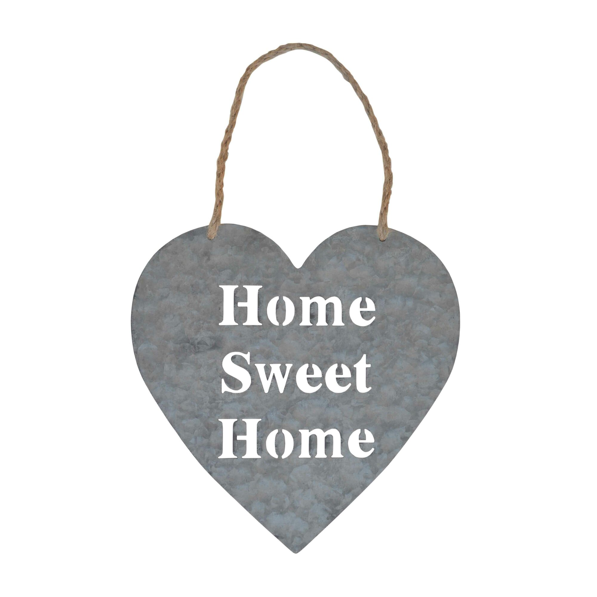 Cheungs 39 home sweet home 39 heart shaped metal wall sign for Heart shaped decorations home