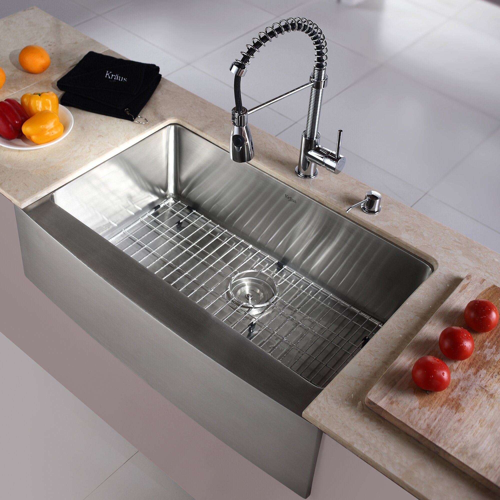 kitchen combos 33 x 21 single basin farmhouseapron kitchen sink with faucet - Apron Kitchen Sinks