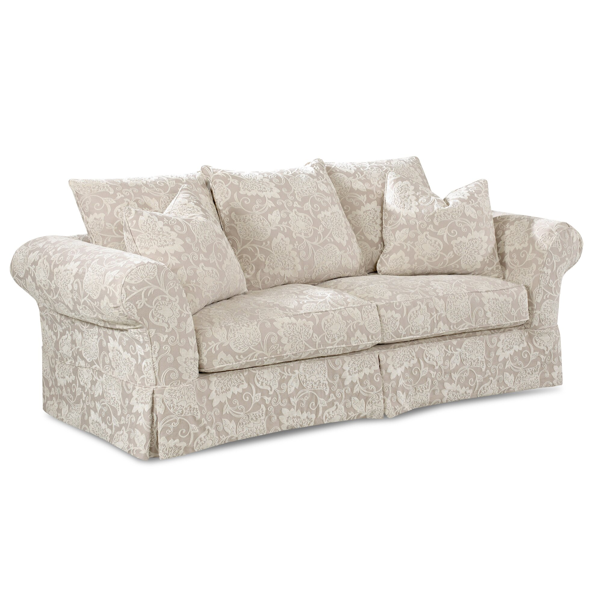 Chenille Skirted Sofa: Klaussner Furniture Bond Sofa & Reviews