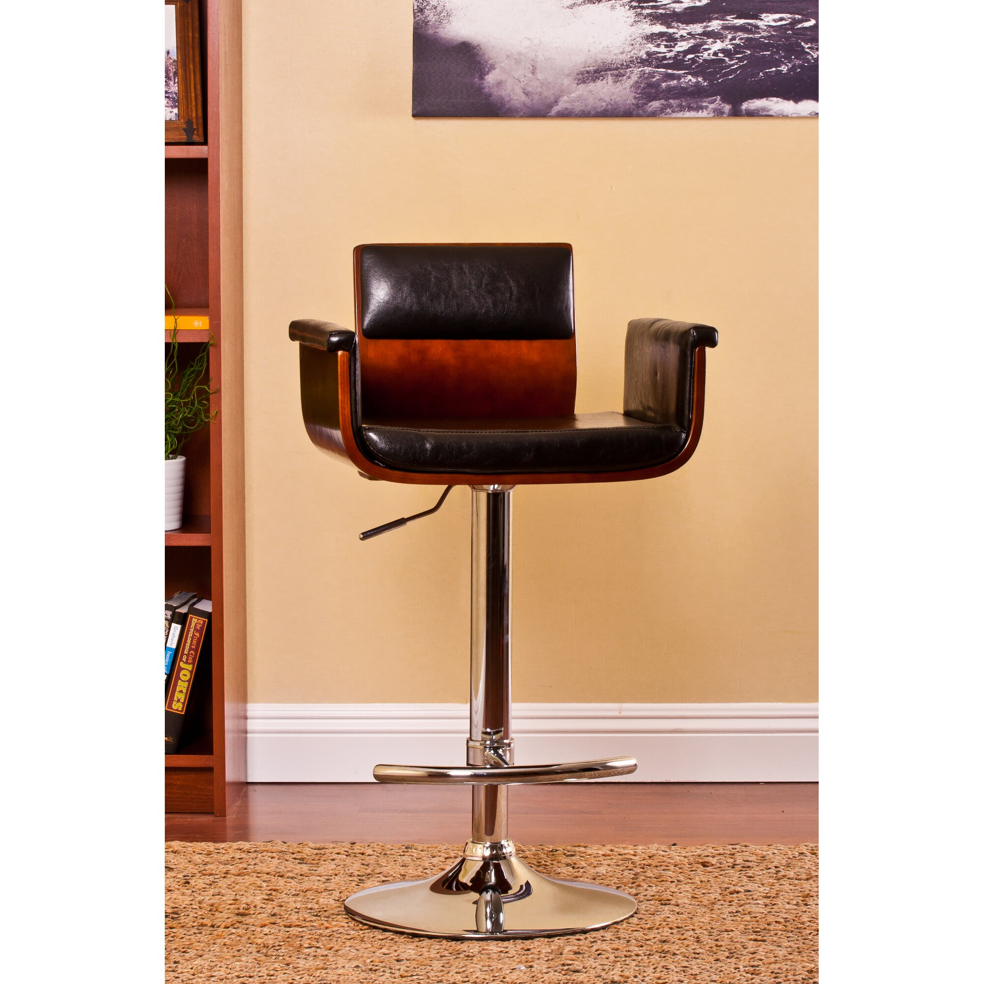 AC Pacific Adjustable Height Swivel Arm Bar Stool & Reviews | Wayfair