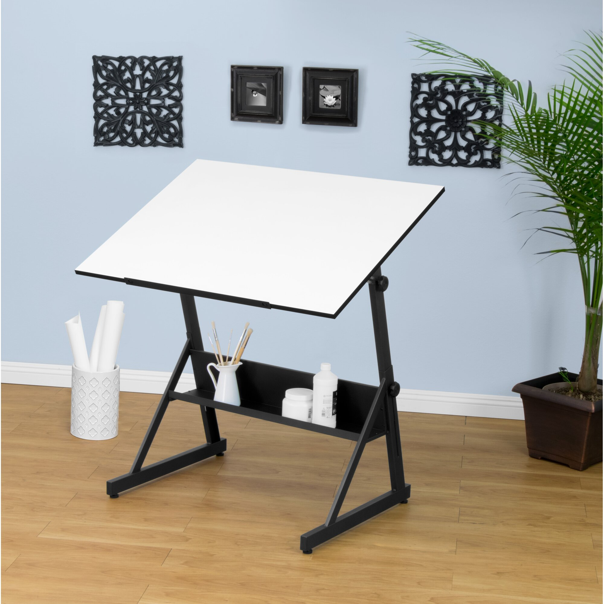 Studio Design Drafting Table studio designs vision craft station with glass top plus rolling wheels drafting drawing tables at hayneedle Solano Adjustable Drafting Table